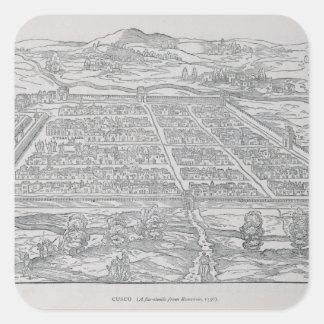 View of Cusco, from Ramusio, pub. 1556 Square Sticker