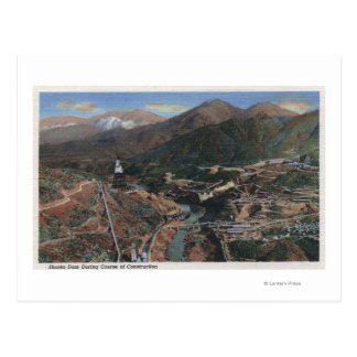 View of Dam During Construction Post Card