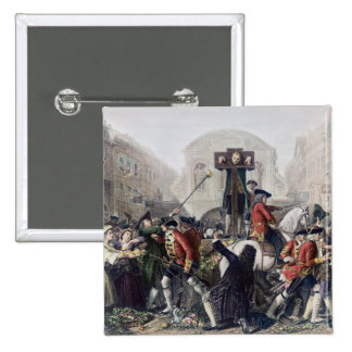 View of Daniel Defoe in the pillory at Temple Bar Pinback Buttons