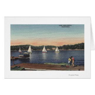 View of Dock, Lake, & Sailboats Card