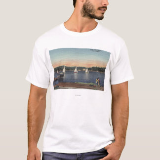 View of Dock, Lake, & Sailboats T-Shirt