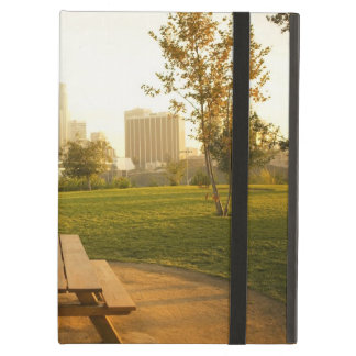 View of downtown from picnic in urban park iPad air cover