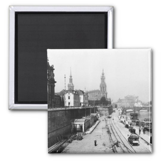 View of Dresden from the Bruehlsche Terrasse Square Magnet
