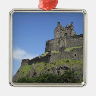 View of Edinburgh Castle, Edinburgh, Scotland, 2 Silver-Colored Square Decoration