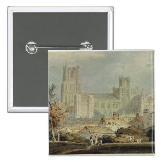 View of Ely Cathedral (pencil & w/c on paper) 15 Cm Square Badge