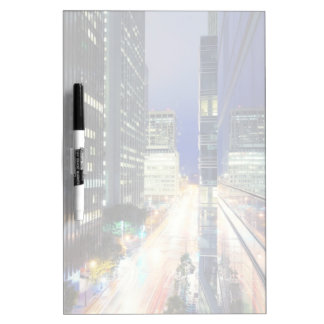 View of financial district office buildings dry erase board