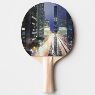 View of financial district office buildings ping pong paddle