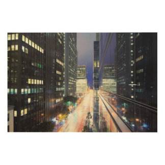 View of financial district office buildings wood print