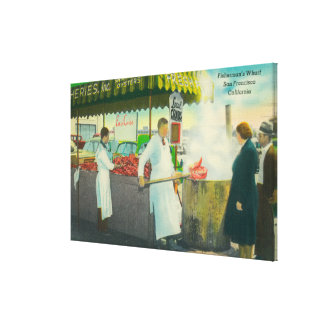 View of Fisherman's Wharf, Crabs Getting Gallery Wrapped Canvas