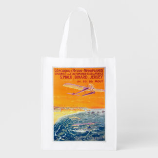 View of Float Planes in Air and Water Poster Reusable Grocery Bag