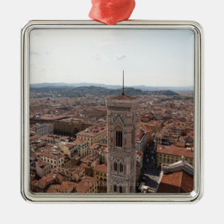 View of Florence from the top of the Duomo Santa Silver-Colored Square Decoration