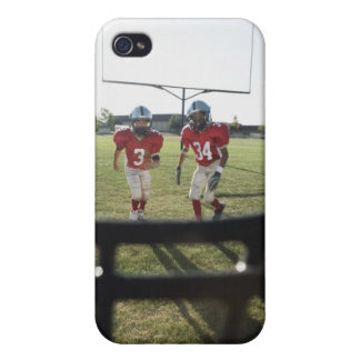 View of football players and field from inside case for the iPhone 4
