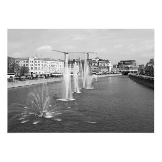 View of fountains on the canal of the river Moscow Photo Print