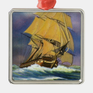 View of Frigate Constitution, Old Ironsides Christmas Ornament
