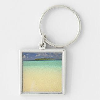 View of Funadoo Island from Funadovilligilli Silver-Colored Square Key Ring