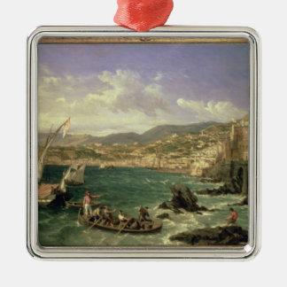 View of Genoa, 1854 (oil on canvas) Silver-Colored Square Decoration