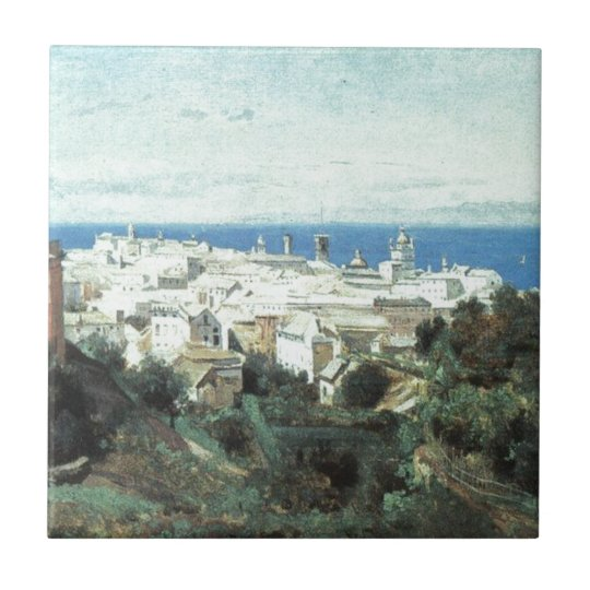 View of Genoa by Camille Corot Small Square Tile