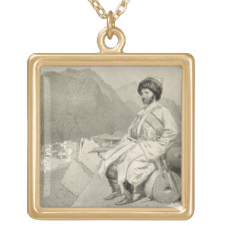 View of Ghimri and Portrait of Hadji-Mourad, plate Gold Plated Necklace