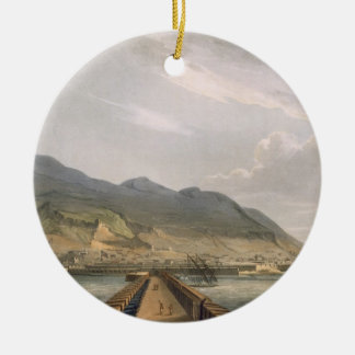 View of Gibraltar, engraved by Thomas Sutherland f Round Ceramic Decoration