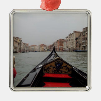 View Of Grand Canal From A Gondola Silver-Colored Square Decoration