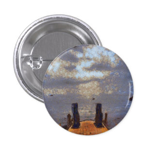 View of great storm from lake shore 3 cm round badge