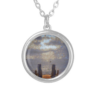 View of great storm from lake shore round pendant necklace