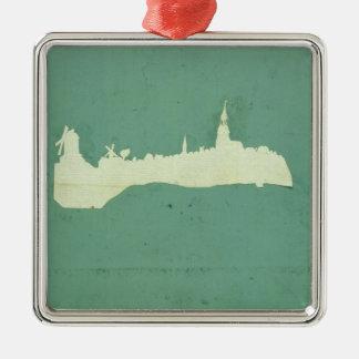 View of Hamburg Silver-Colored Square Decoration