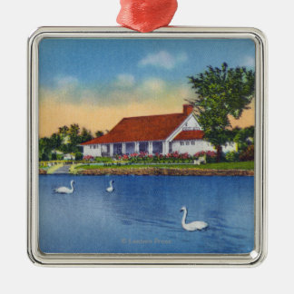 View of Hoopes Park Swans on the Lake Christmas Ornament