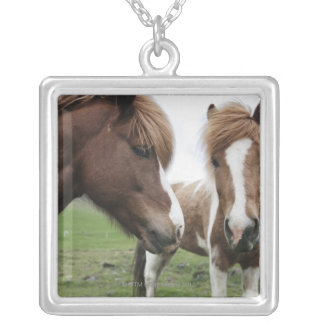 View of Horse, close-up Silver Plated Necklace