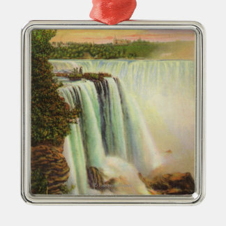 View of Horseshoe Falls from Goat Island Silver-Colored Square Decoration