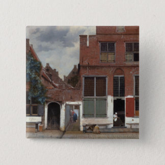 View of houses in Delft The Little Street 15 Cm Square Badge