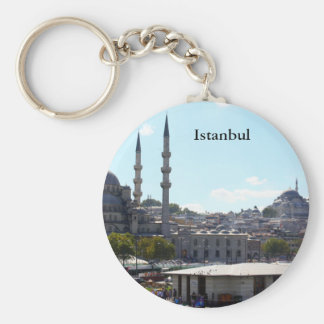 View of Istanbul Basic Round Button Key Ring