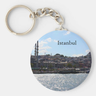 View of Istanbul Harbor Basic Round Button Key Ring