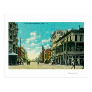 View of J and Mariposa Street CornerFresno, CA Postcard