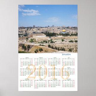 View of Jerusalem Old City, Israel. Calendar 2016 Poster
