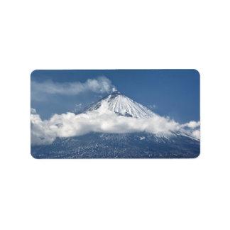 View of Kamchatka active volcano Address Label