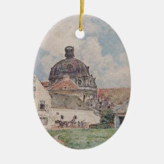 View of Klosterneuburg by Rudolf von Alt Ceramic Oval Decoration