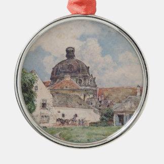 View of Klosterneuburg by Rudolf von Alt Silver-Colored Round Decoration