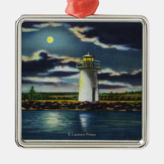 View of Lake Cobbosseecontee Lighthouse at Night Christmas Ornament