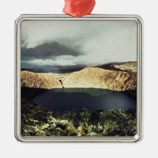 View of Lake Guatavita Silver-Colored Square Decoration