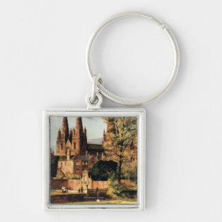 View of Lichfield Cathedral Silver-Colored Square Key Ring