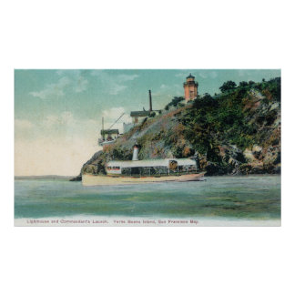 View of Lighthouse and Commandant's Launch Poster