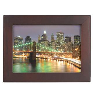 View of Lower Manhattan and the Brooklyn Bridge Keepsake Box