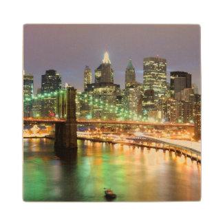 View of Lower Manhattan and the Brooklyn Bridge Wood Coaster