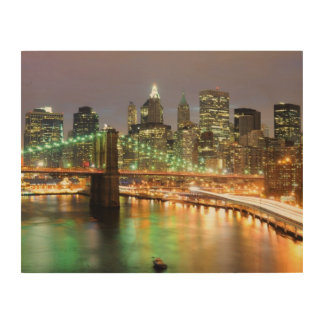 View of Lower Manhattan and the Brooklyn Bridge Wood Wall Art