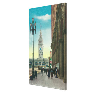 View of Lower Market St showing Ferry Tower Canvas Prints