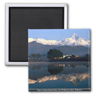 View of Macchapuchhre over Pokhara Lake, Pokhara, Square Magnet