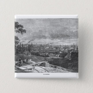 View of Manchester, engraved by T.Gustyne 15 Cm Square Badge
