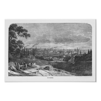View of Manchester, engraved by T.Gustyne Poster