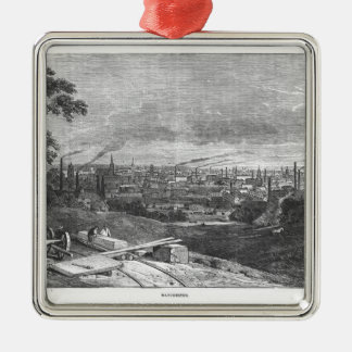 View of Manchester, engraved by T.Gustyne Silver-Colored Square Decoration